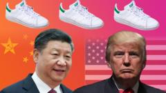 US president Donald Trump Chinese president Xi Jinping and some white trainers