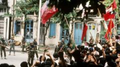 Protesters and military in a Yangon street in 1988