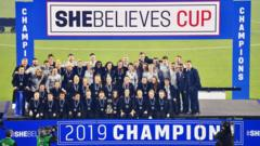 The England Women's National Team poses with the trophy after winning the She Believes Cup at Raymond James Stadium on March 05, 2019 in Tampa, Florida.