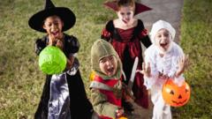 Children trick or treating.