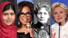 Malala Yousafzai, Oprah Winfrey, Emmeline Pankurst and Hillary Clinton