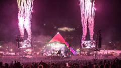 Fireworks at the Glastonbury Pyramid stage.