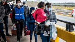 Asylum seekers enter Brownsville, Texas from Mexico