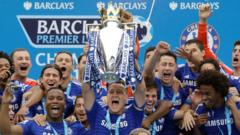 Chelsea football club lifting Premier League title in May 2015