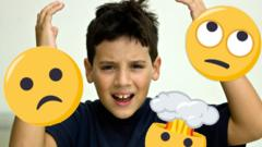 boy with moaning emojis