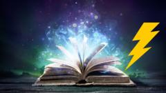 An open book against a blue and purple background with sparkles. There is a yellow lightening bolt.