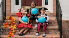 Kids with teal pumpkins