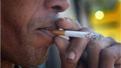 Man smokes menthol cigarette