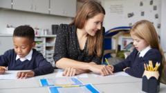 Teacher with school children