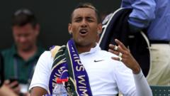 Kyrgios getting annoyed at the umpire at Wimbledon