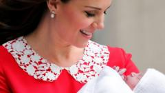 Image shows the Duchess of Cambridge smiling at new born Prince Louis