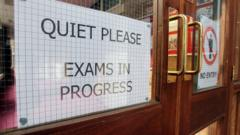 Exams in progress sign