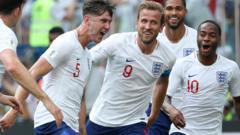 England team celebrating.