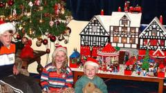 Previous models of a German Christmas Market and a postbox