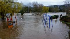 Flooded playground