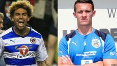Daniel Williams of Reading and Huddersfield Town's Jonathan Hogg