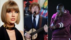 Taylor Swift, Ed Sheeran and Stormzy