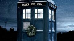 TARDIS with a wreath