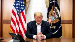 US President Donald Trump participates in a phone call at Walter Reed National Military Medical Center.