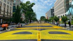 The two-block long mural was painted overnight outside the White House