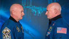 Scott and Mark Kelly looking at each other