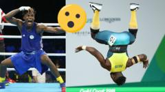 One athlete pulls a face and the other is mid-flip