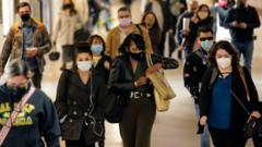Commuters wearing facemasks in Los Angeles in November