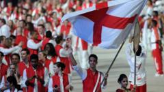 England athletes take part in the opening ceremony of the Commonwealth Games in New Delhi in 2010