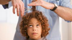 A young boy gets his haircut