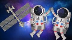 Cartoon image shows two astronauts in space