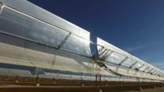 Curved mirrored solar panels reflect heat from the sun on to oil filled tubes