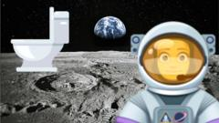 moon with astronaut and toilet emojis