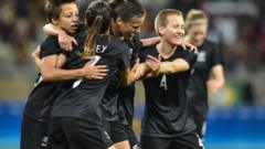 New Zealand women's football team celebrating a goal against Columbia in August, 2016 in Brazil