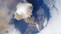 View from space of the Sarychev volcano