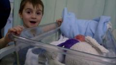 Fabrizio meets his baby brother