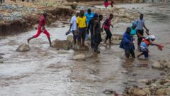 People in Zimbabwe following Cyclone Idai