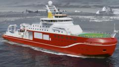 An artist's impression of the RRS Sir David Attenborough on icy seas