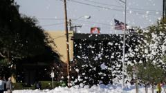 A town in California has been flooded with foam after a fire-protection system leaked everywhere.