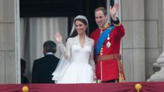 Duchess of Cambridge and Prince William, Duke of Cambridge on the balcony at Buckingham Palace.