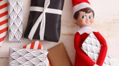 Elf on the Shelf staring at presents