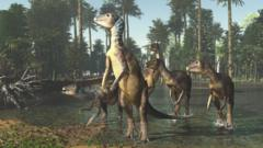 An artists rendering of what the Weewarrasaurus pobeni would have looked like 100 million years ago.