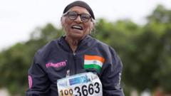 102-year-old Mann Kaur from India celebrates another victory