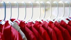 Red T-shirts hanging on a hanger