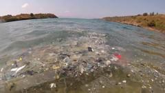 Plastic rubbish in the sea