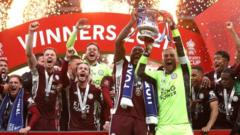 Leicester City trophy celebrations