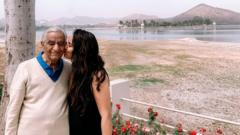 Avani Singh with her grandfather, 94, who is ill with Covid-19 in Delhi