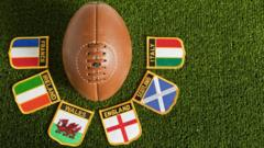Rugby ball with nation badges.