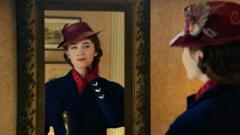 Mary Poppins looking in a mirror