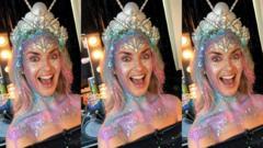 Hayley in mermaid makeup.