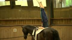 Lucy Phillips demonstrating the sport of vaulting